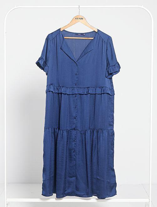 Robe longue volantée                                                     bleu