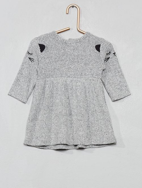 Robe maille doudou 'Chat'                                                     gris