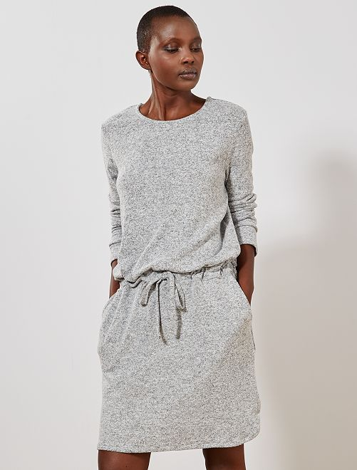 Robe maille doudou                                         gris clair Femme