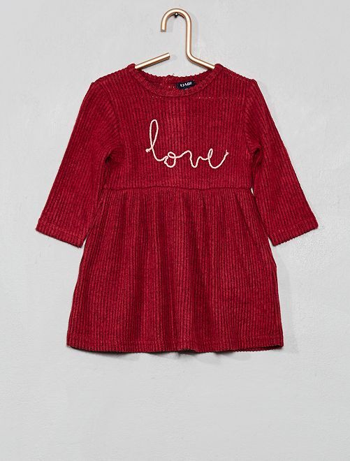 Robe maille doudou 'Love'                                                     pourpre