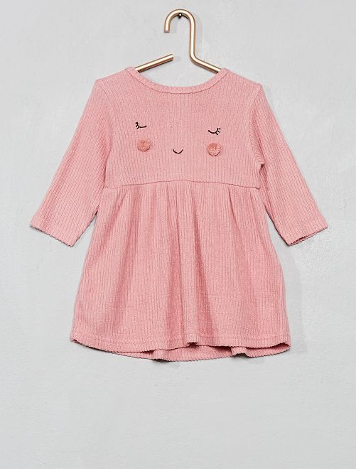 Robe maille doudou 'pompons'                                                     rose
