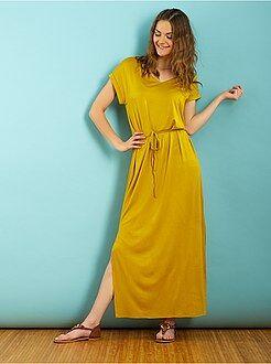 Robe longue - Robe manches courtes longue et ample en maille