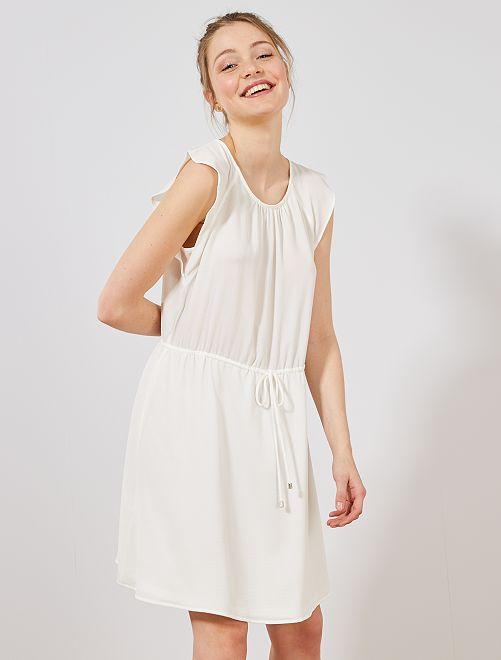 Robe manches courtes papillon                                         blanc Femme