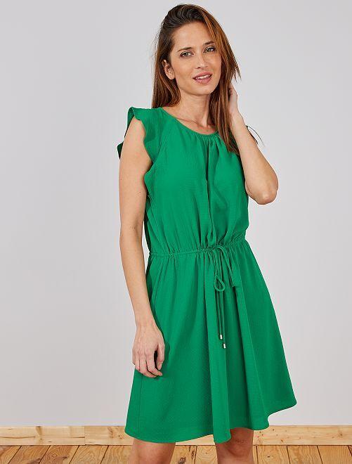 Robe manches courtes papillon                                                                 vert pin Femme