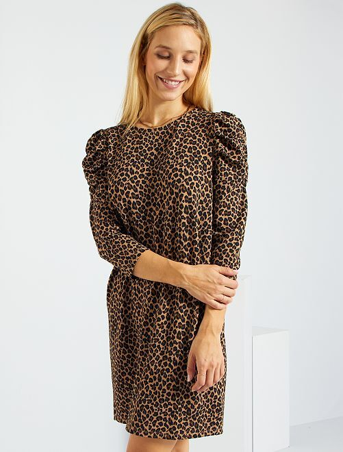 Robe manches froncées en maille gaufrée                                                                 marron léopard