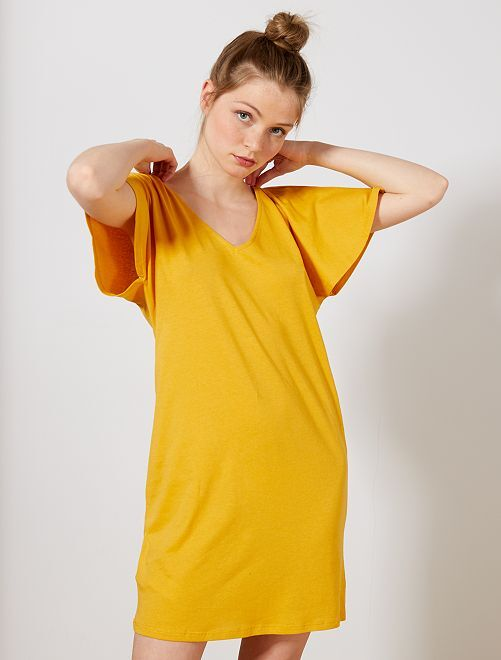 Robe manches papillons                                                                 jaune Femme