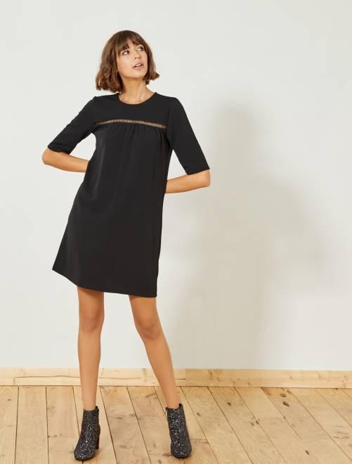 Robe noire avec détail poitrine                             noir Femme