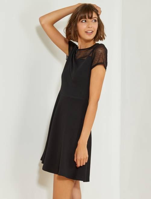 356e301b5ff Robe noire avec haut plumetis Femme - noir - Kiabi - 20