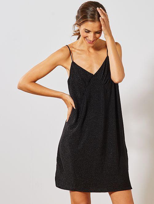 Robe pailletée fines bretelles                                         noir