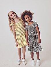 Acheter Bébé Filles Robe Enfants Fille Manches Courtes Coton Décontracté Robes De Fleurs De Coton Conception D'été Blanc Robe Filles Robe Longue 2 7