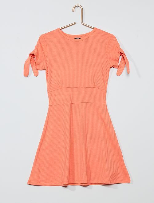 Robe patineuse maille côtelée                                                                 rose corail