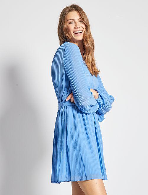 Robe plissée                                         bleu