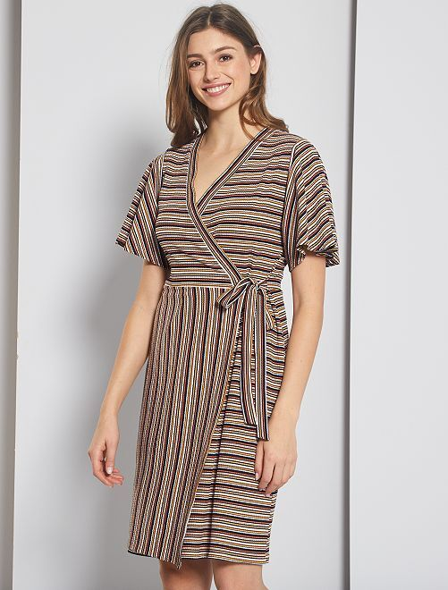 Robe portefeuille à rayures                             multicolore