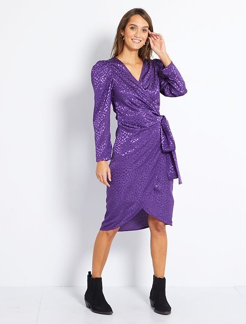 Robe portefeuille effet satiné                     violet