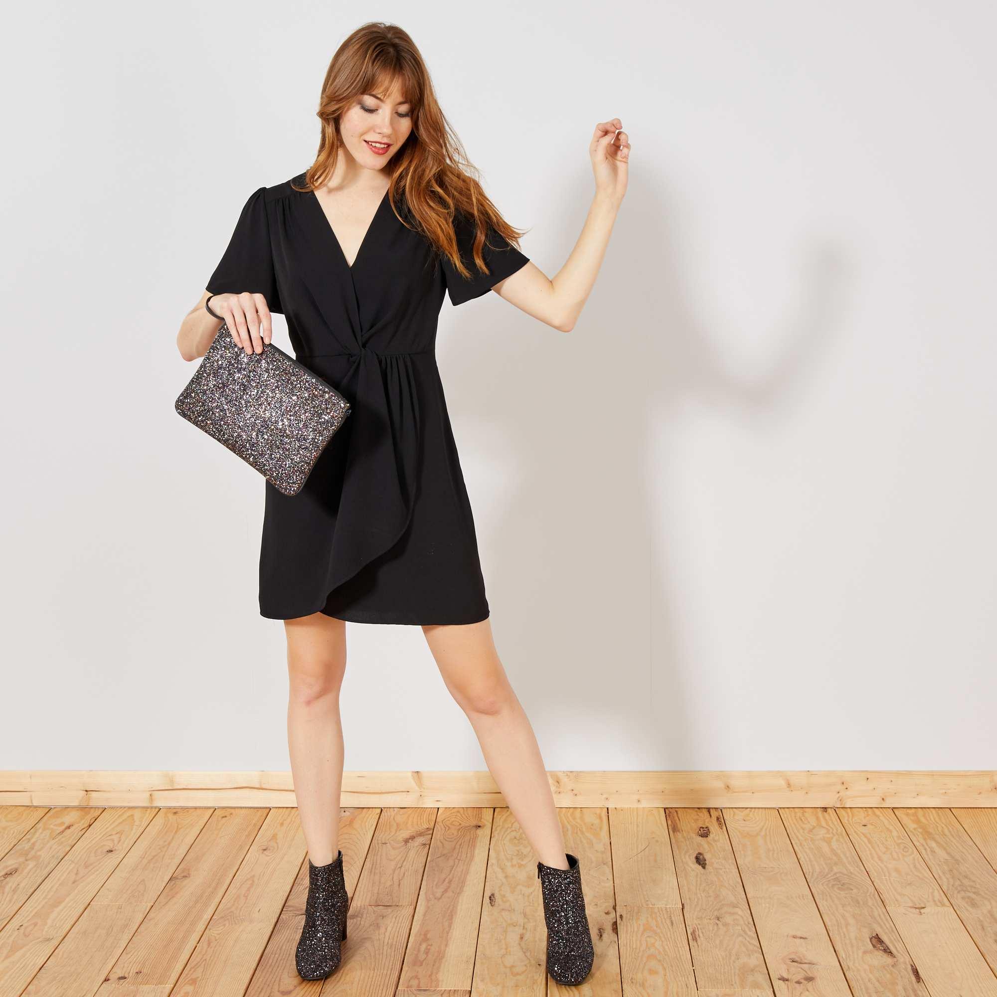 67d6eadfd68 Robe portefeuille fluide Femme - noir - Kiabi - 18