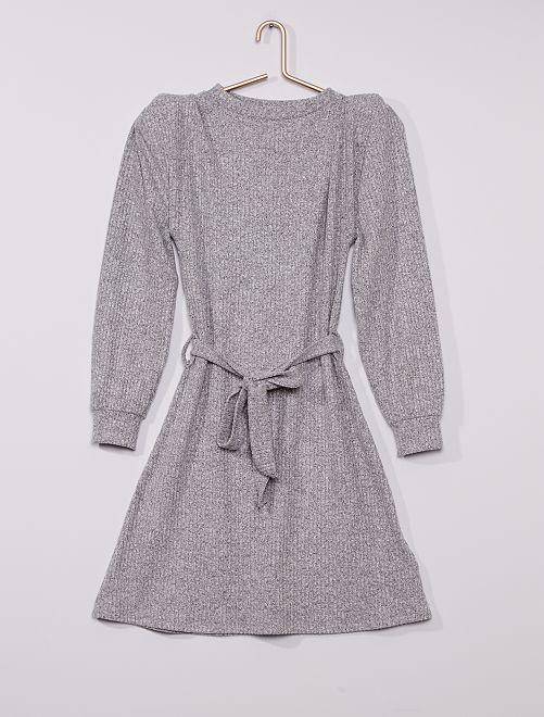 Robe pull à épaulettes en maille douce                             gris chiné