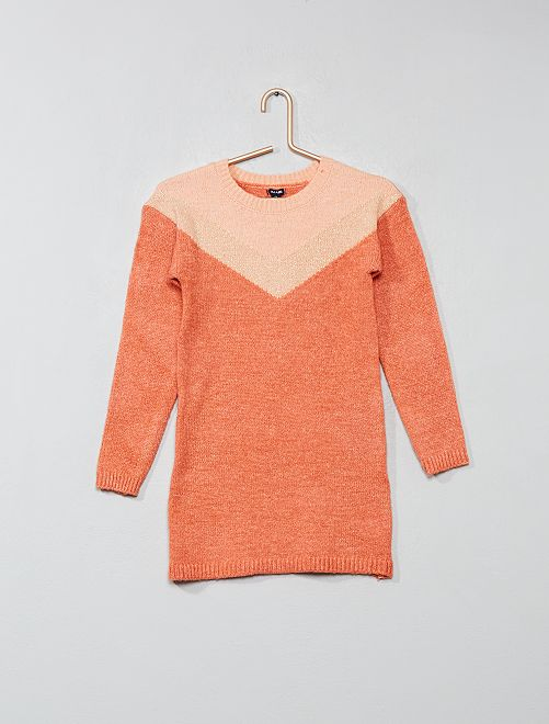 Robe pull à sequins                                                     corail Fille