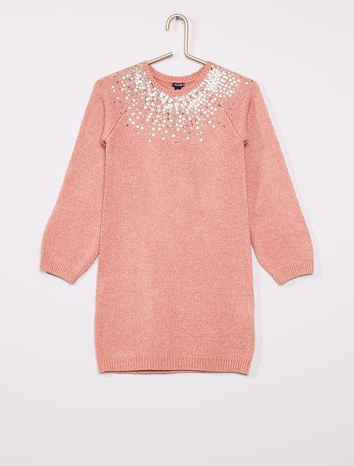 Robe pull à sequins                                                     rose