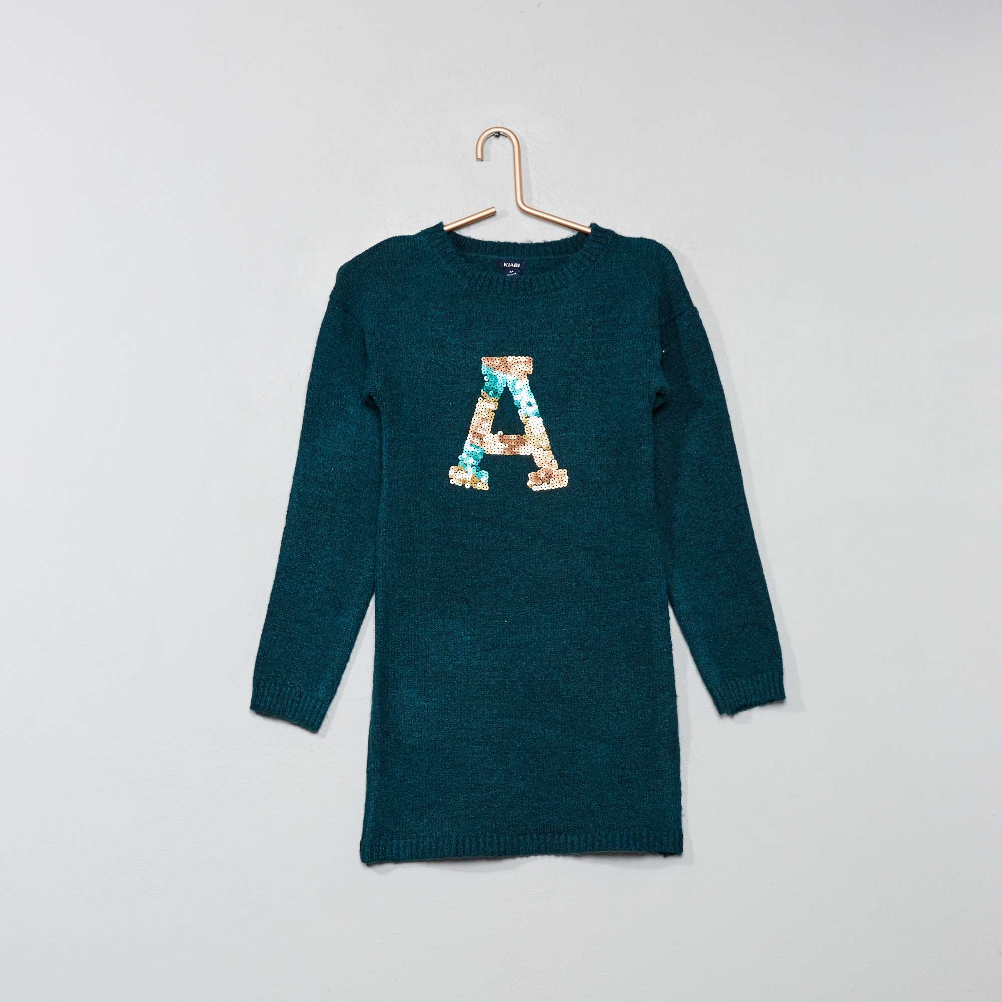 cbadc06a8bf Robe pull à sequins Fille - vert foncé - Kiabi - 7