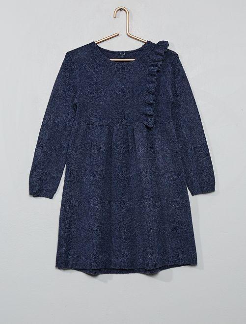 Robe pull à volant                                                     bleu