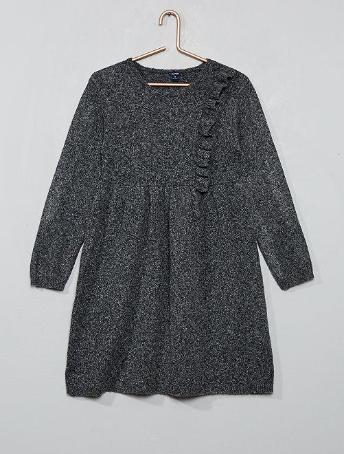 Robe pull à volant                                                                 gris chiné