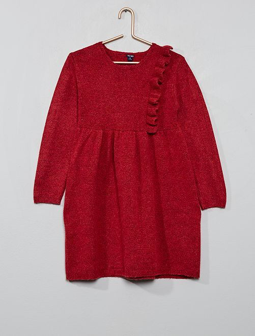 Robe pull à volant                                                     rouge groseille