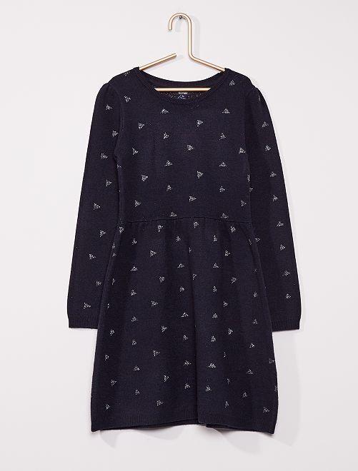 Robe pull au motif brillant                                                                 bleu