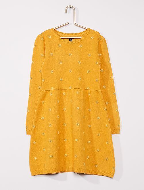 Robe pull au motif brillant                                                     jaune