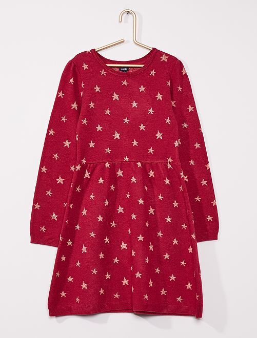 Robe pull au motif brillant                                                     rose