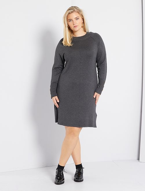Robe pull avec boutons                     gris
