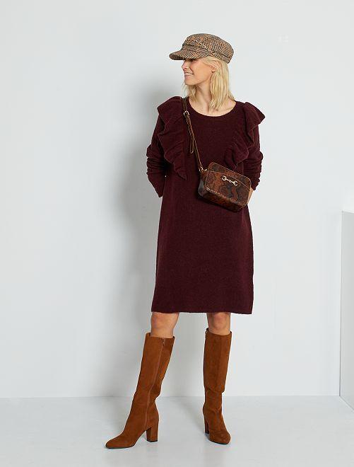 Robe pull avec laine                                                     rouge