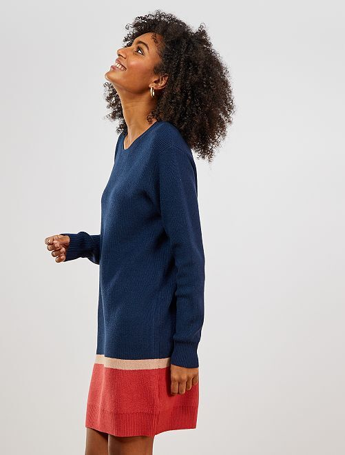 Robe pull                                         bleu/rouge
