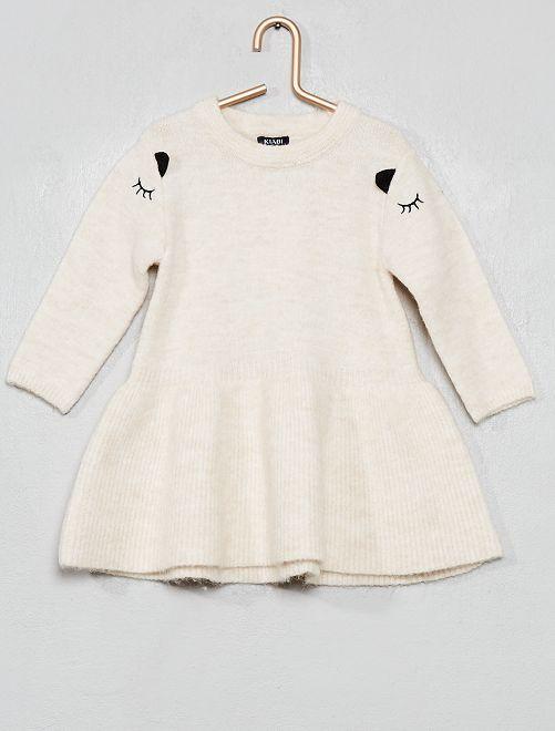 Robe pull brodée                                                     blanc cassé