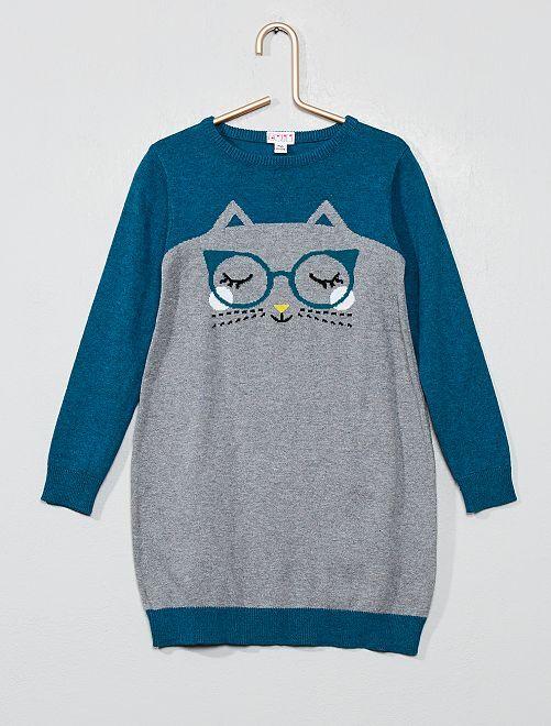 Robe pull 'chat'                             gris/bleu Fille
