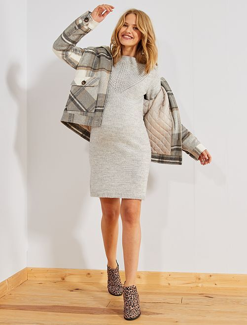 Robe pull chaude de grossesse                                                                 gris
