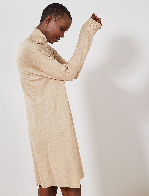 Robe pull col cheminée                                                                 beige Femme