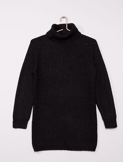 Robe pull col roulé en maille                             noir