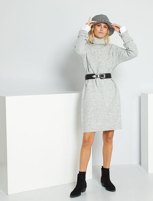 Robe pull col roulé maille fantaisie                                                     gris chiné