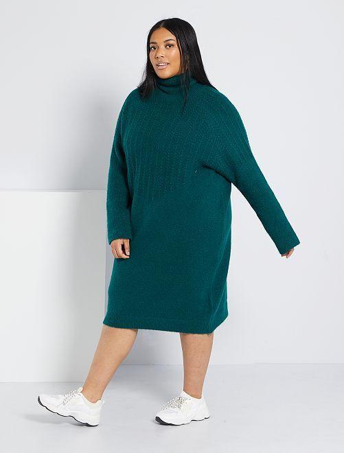 Robe pull col roulé maille fantaisie                             vert