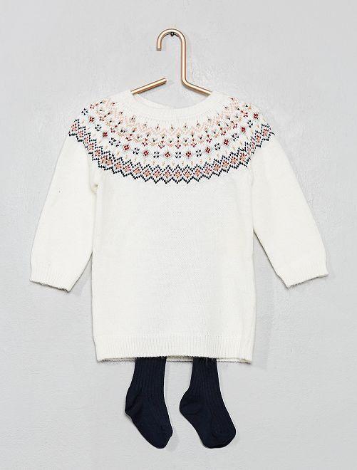 Robe pull + collants                                         blanc Bébé fille