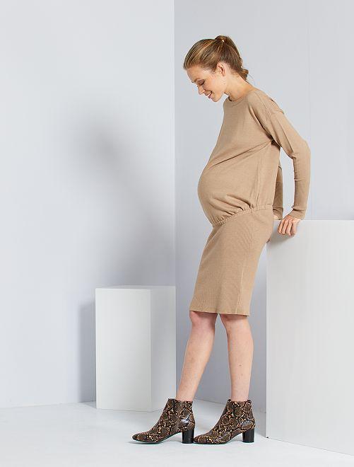 Robe pull de maternité                                 beige