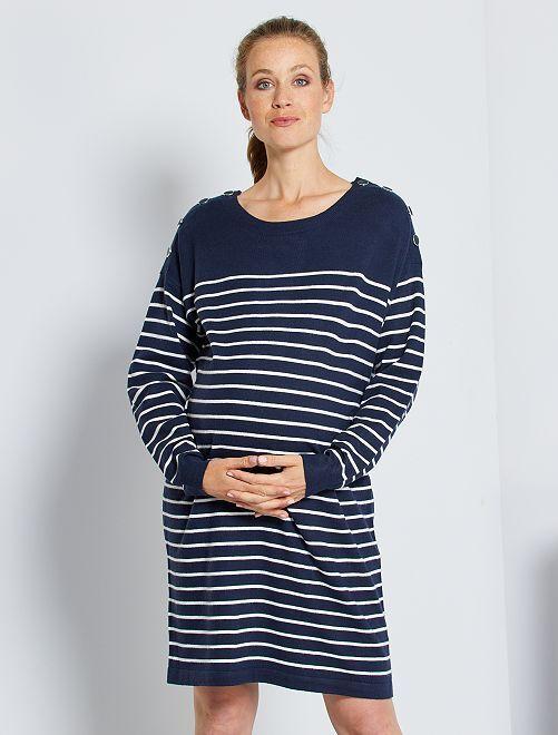 Robe pull de maternité                                                                 bleu rayé