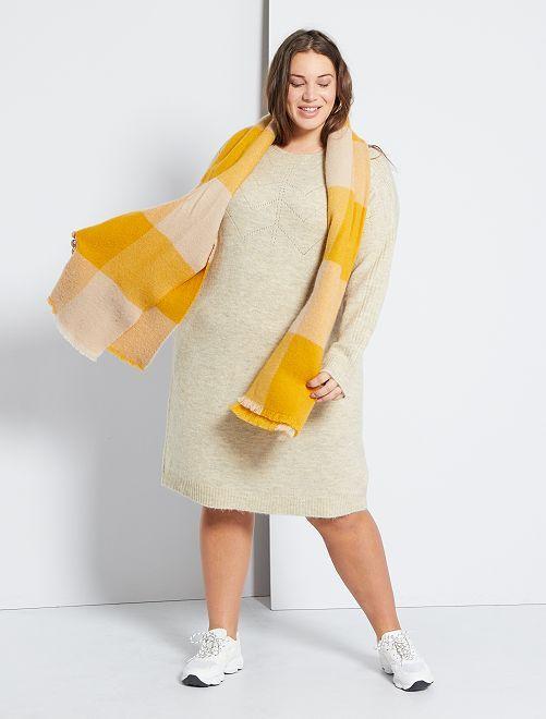 Robe pull détails ajourés                             beige