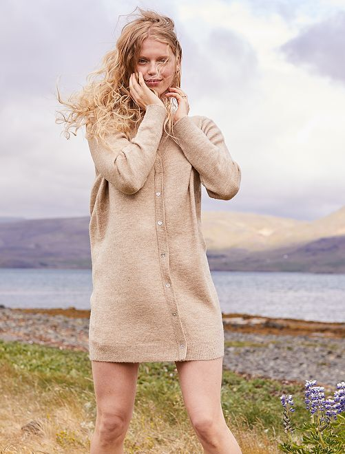 Robe pull effet gilet                             beige