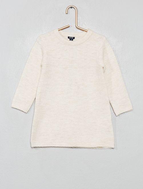 Robe pull en maille douce effet 'pompons'                                                     beige