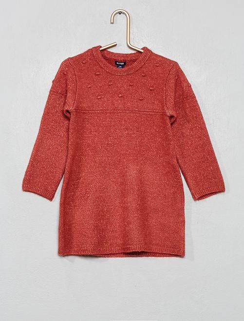 Robe pull en maille douce effet 'pompons'                                                     rose