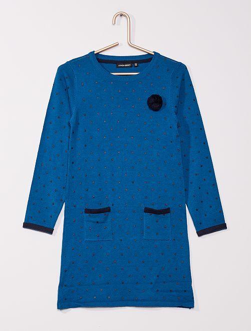 Robe pull en maille fine                                         bleu