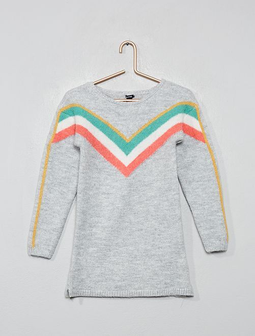 Robe pull en maille                                                                             gris/chevrons