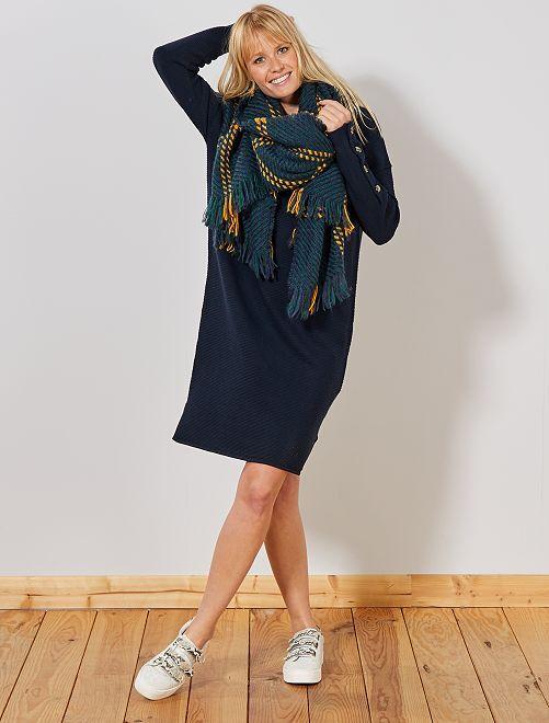 Robe pull en maille ottoman                                 bleu marine