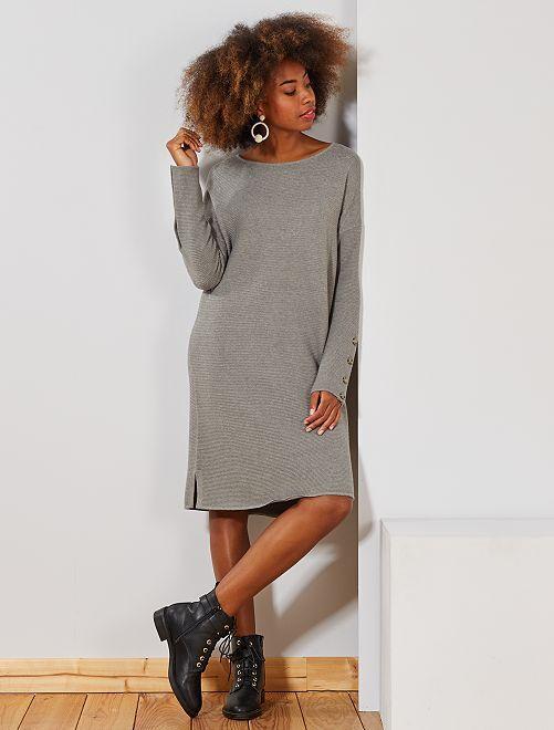 Robe pull en maille ottoman                                                                 gris Femme